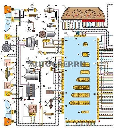 Ваз 2114 инжектор электрическая схема омывателя фото 999